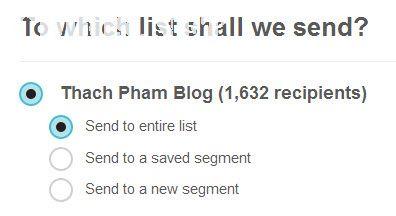 Chọn Email List cần gửi mail đến