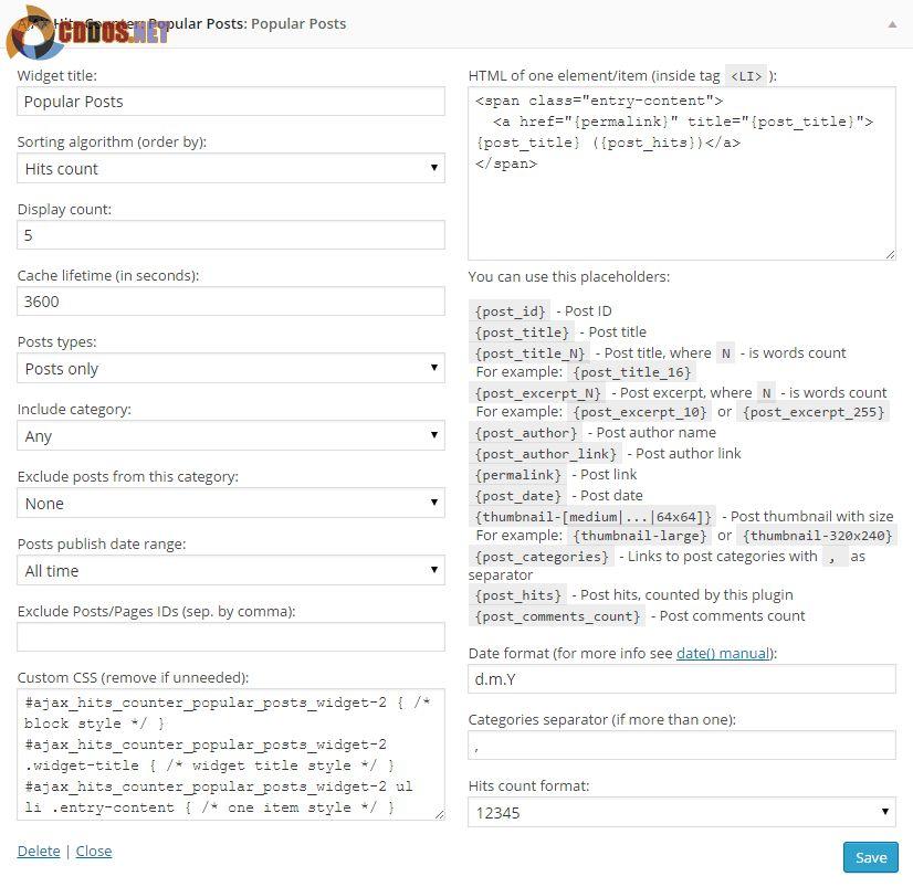Tùy chỉnh widget bài xem nhiều của AJAX Hits Counter
