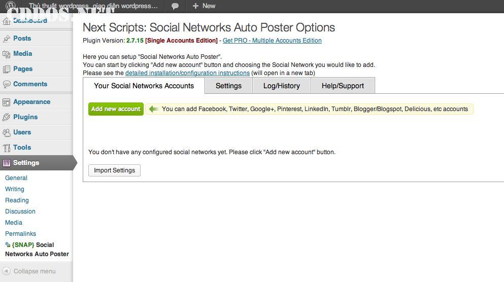 Cài đặt NextScripts Auto Poster