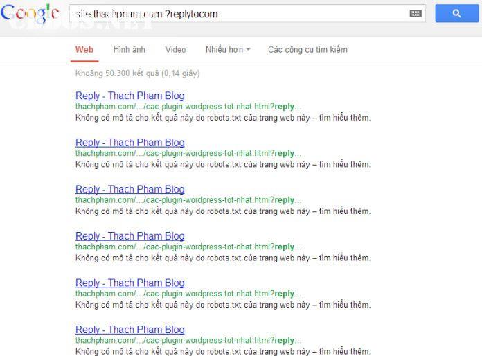 replytocom được Google index