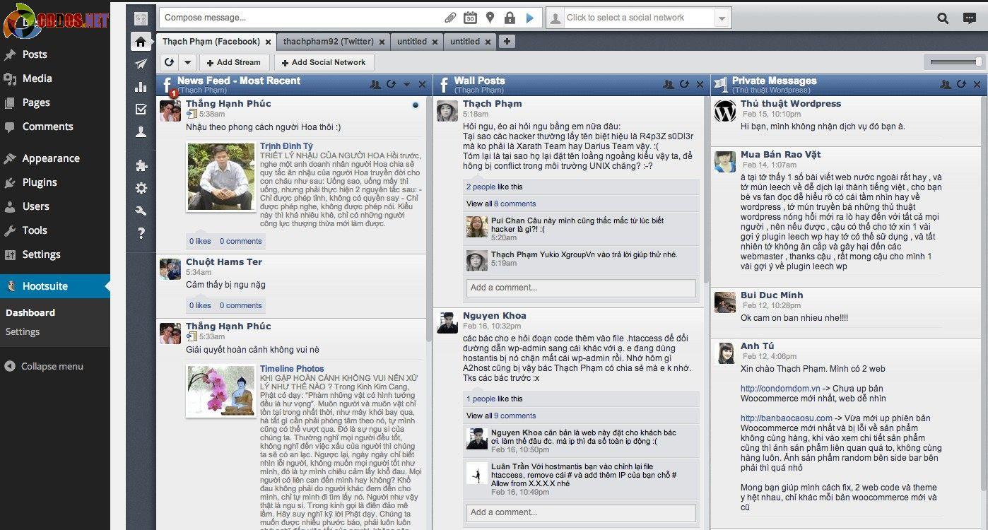 Hiển thị HootSuite trong WordPress