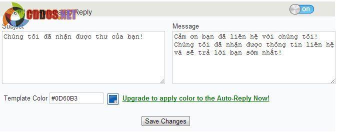 Tự động trả lời email cho người gửi liên hệ