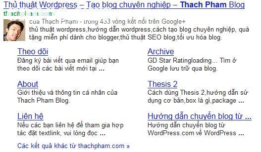 Sitelinks của Thach Pham Blog