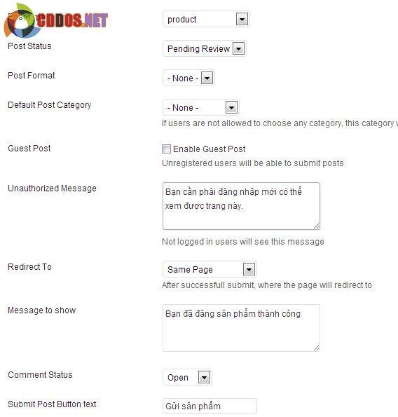 Tạo form đăng sản phẩm WOocommerce