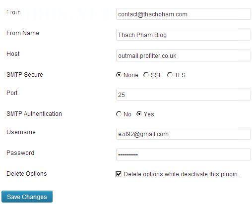 Sử dụng SMTP riêng cho WordPress