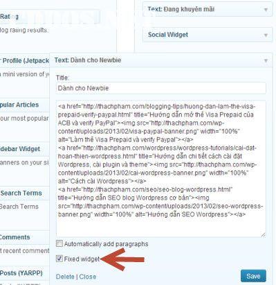 Tạo widget cố định trong WordPress