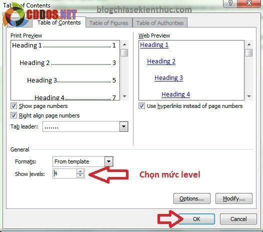 tạo mục lục tự động trong word 2007 6