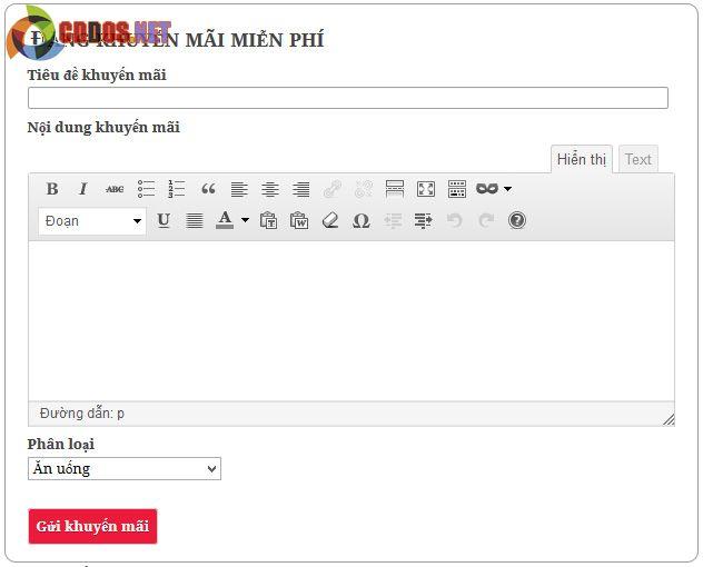 Trang đăng bài cho thành viên