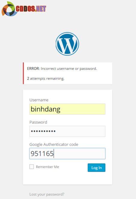 Sử dụng mã bảo vệ khi đăng nhập