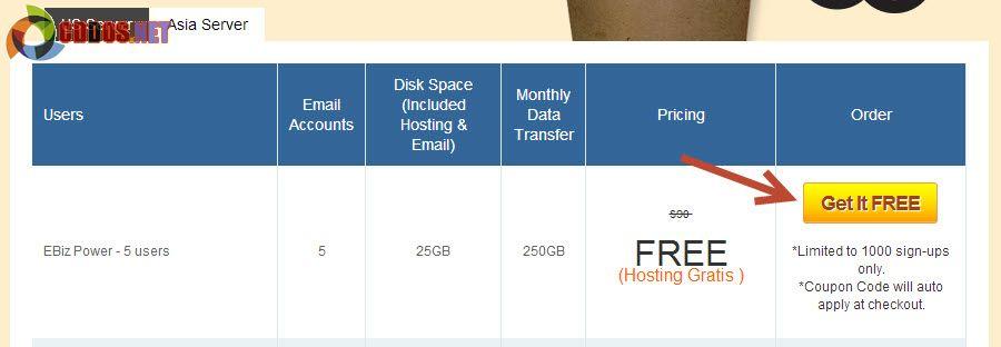 Exabytes miễn phí 1 năm