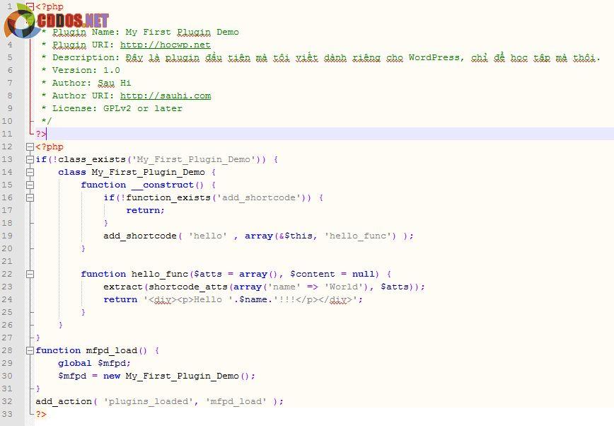 Plugin hoàn thiện sau khi thêm code