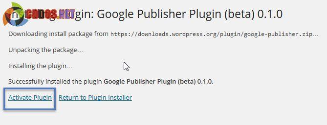 Kích hoạt plugin Google Publisher