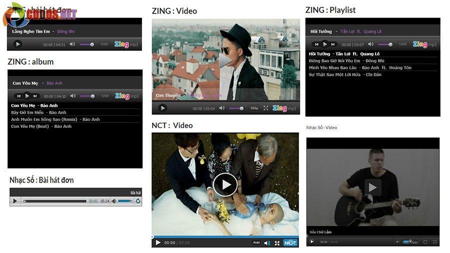 WordPress VN oEmbed hỗ trợ các định dạng video và audio tại Zing, Nhacso và Nhaccuatui