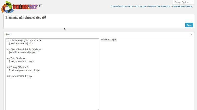 Tạo form liên hệ trong WordPress