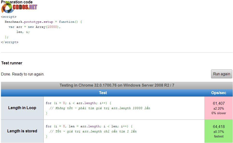 Vòng lặp Javascript - Tối ưu hóa vòng lặp For