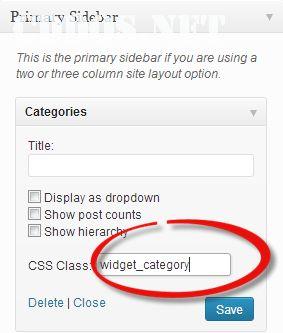 Thêm CSS riêng cho từng widget