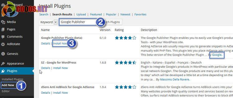 Cài đặt plugin Google Publisher