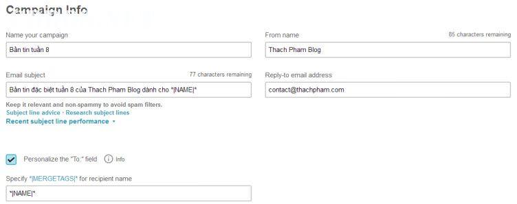 Gửi email với Mailchimp