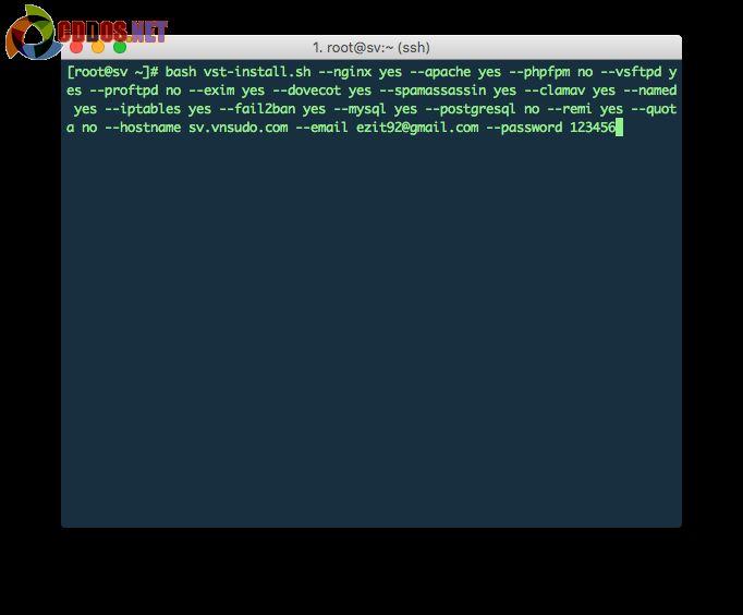 Dán vào dòng lệnh ở máy chủ để cài đặt.