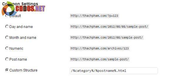Tùy chỉnh permalinks cho WordPress