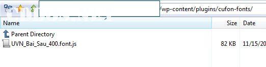Upload file font của Cufon vào thư mục cufon-fonts