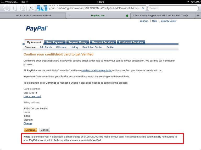 Verify tài khoản PayPal