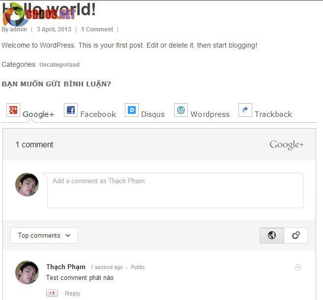 Thêm Google+ Comment cho WordPress
