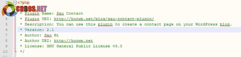 Chỉnh sửa phiên bản mới trong tập tin chính của plugin