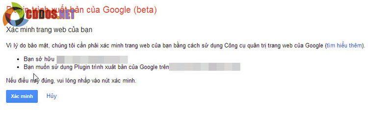 Xác minh tài khoản cho plugin Google Publisher