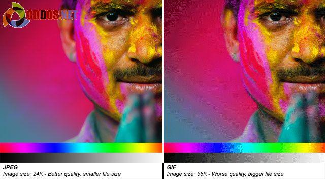 JPEG sẽ tốt hơn với các ảnh có chế độ màu đa dạng.