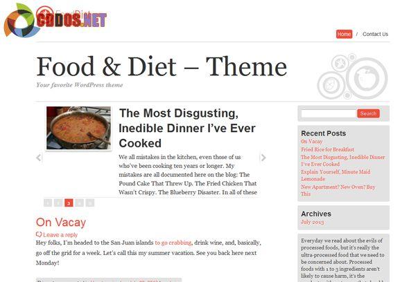 Theme dành cho blog ẩm thực và sức khỏe