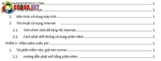 tạo mục lục tự động trong word 2007 7