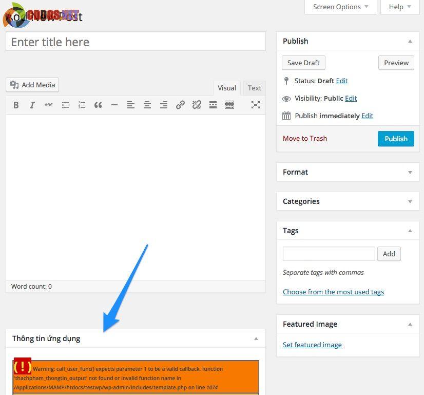Hiển thị meta box với hàm add_meta_box