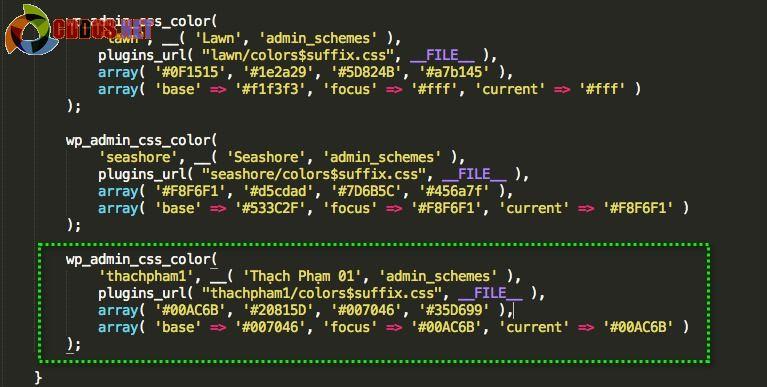 Thêm mã màu vào code plugin