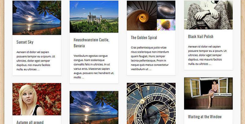 Kiểu hiển thị 4 cột bài viết trong Pinboard WordPress Theme