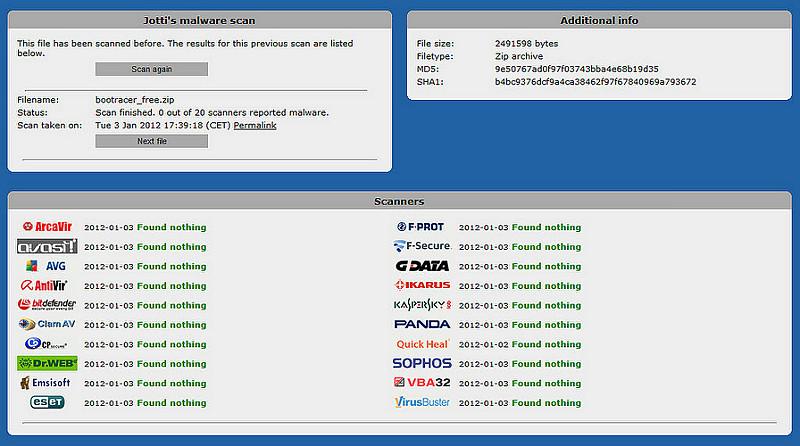 Kết quả quét virus tại Jotti's Malware Scan