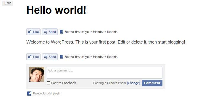 Plugin tương tác Facebook với WordPress