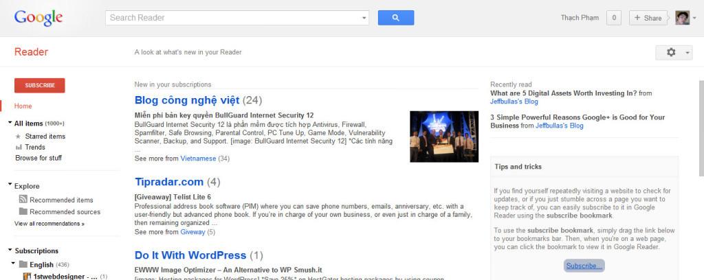Hướng dẫn và mẹo sử dụng Google Reader để đọc tin hiệu quả