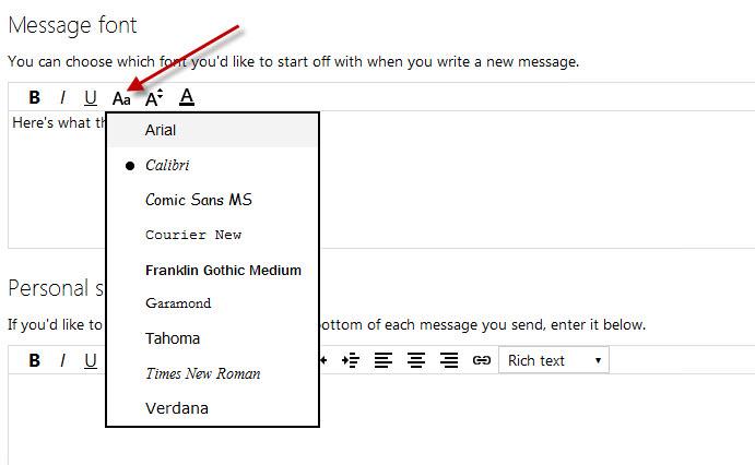 Tùy chỉnh font cho Outlook