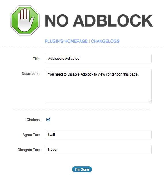 Cài đặt No Adblock cho WordPress