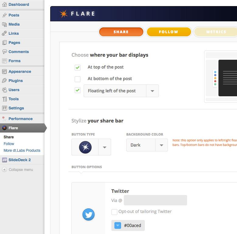 Chèn các nút mạng xã hội đẹp mắt vào WordPress với Flare Plugin