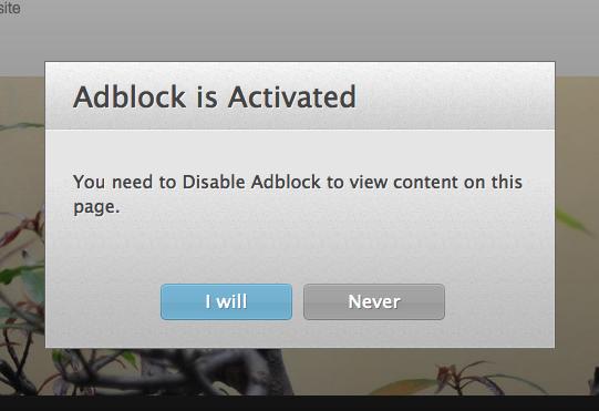 Thông báo hiển thị phát hiện sử dụng Adblock