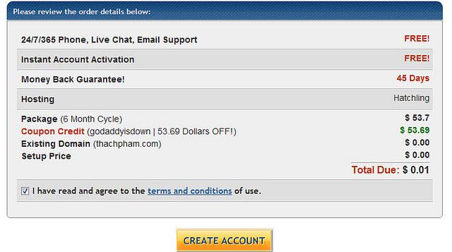 6 tháng sử dụng Hostgator chỉ với 0,01$
