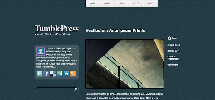 Theme TumblePress mang phong cách Tumblr dành cho WordPress