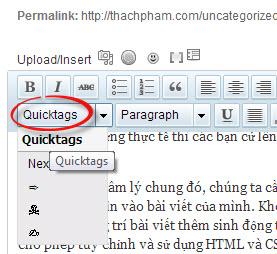 Chèn nhanh các tag vào khung soạn thảo bài viết