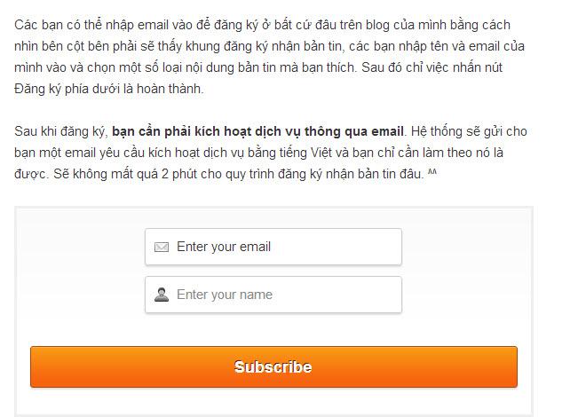 Chèn khung đăng ký nhận bài qua email vào giữa bài viết