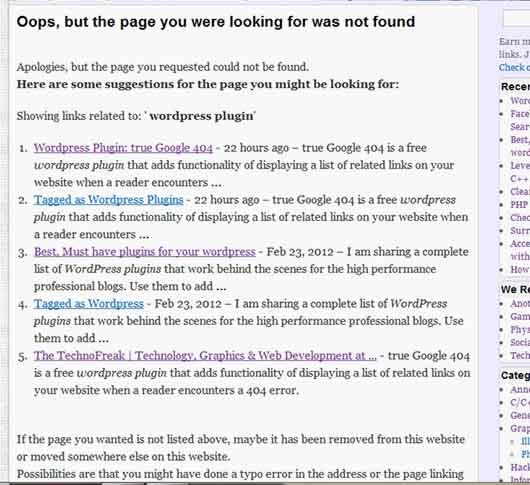True Google 404 Plugin