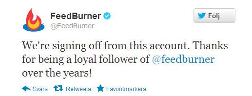 Feedburner thông báo họ sẽ đóng tài khoản Twitter