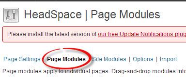 Truy cập vào trang quản lý Page Modules trong Headspace2 SEO