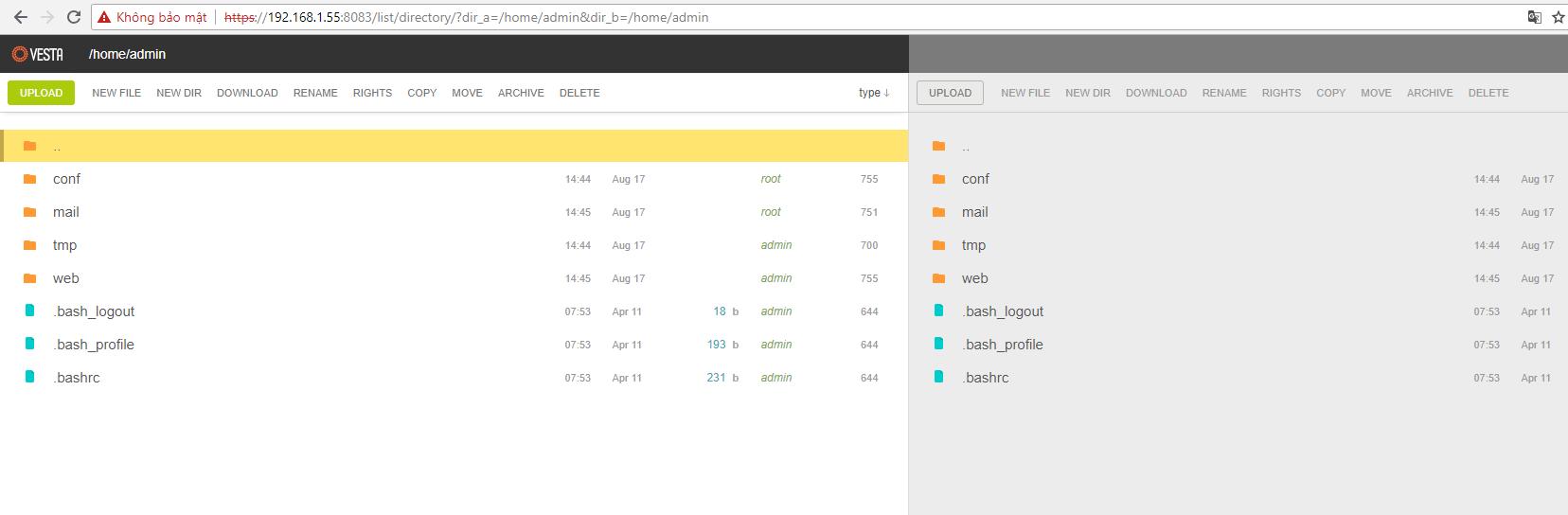 File Manager cho Vesta